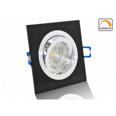 LED Einbaustrahler Set Aluminium schwarz gebürstet eckig mit Marken GU10