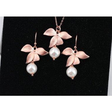 Rosègold Ohrringe, Kette Orchidee...
