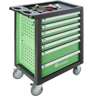Werkzeugwagen mit Werkzeug 1199-tlg. - grün bei tectake.de