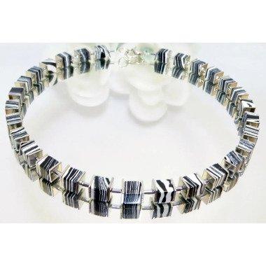 Kette, Halskette, Würfelkette, Collier, Perlen, Steinwürfel, Hämatit