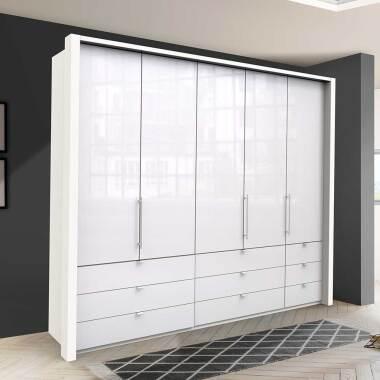 Weißer Schlafzimmerschrank mit neun Schubladen 3 türig