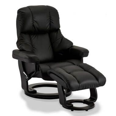 Drehbarer TV Sessel in Schwarz Fußhocker (zweiteilig)