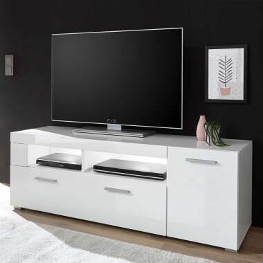 Fernsehtisch in Weiß Hochglanz 140 cm breit
