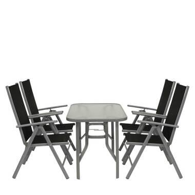 Terrassen Sitzgruppe mit Glastisch Klappsesseln (fünfteilig)