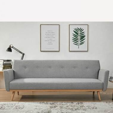 Funktions Sofa in Hellgrau und Holz...