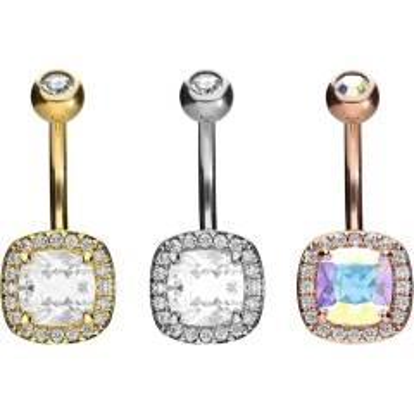 Piercinginspiration Großer Kristall Juwelen Bauchnabel Piercing Barbell