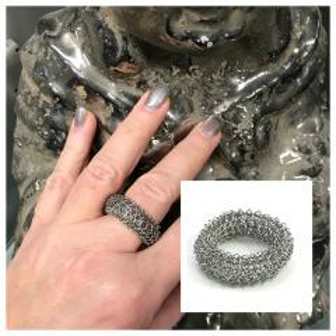 Fingergestrickter Edelstahl-Ring
