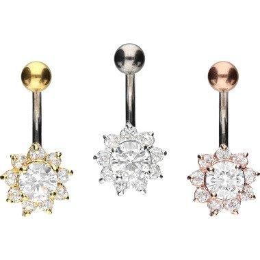 Piercinginspiration Titanium Sonnenblume Kristall Bauchnabel Piercing Barbell