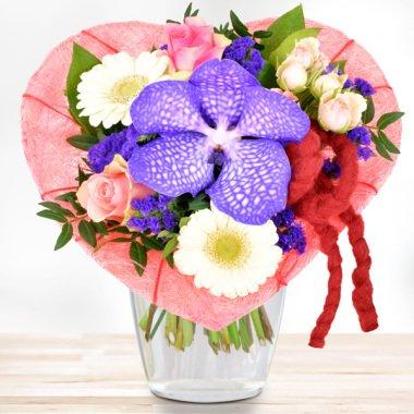 Blumenstrauß Orchideenherz Rosa-Lila