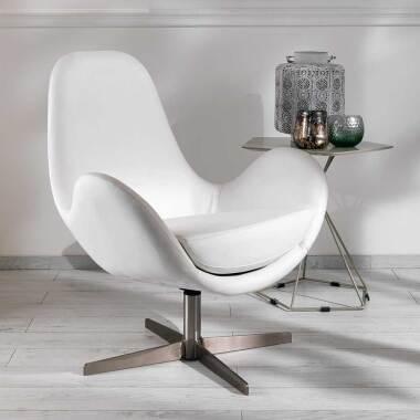 Drehsessel in Weiß Kunstleder Retrostil