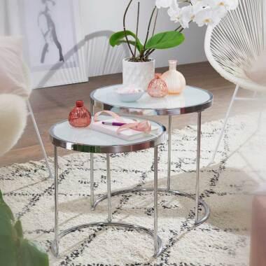 Glastisch Set in Weiß und Chromfarben rund (zweiteilig)