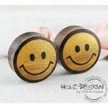 Sale 6-30mm Paar Pair Holz Flesh Tunnel Smiley Gesicht Plug Handgefertigt