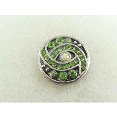 Druckknopf Chunk Metall Silber Grün Kristall, Armband, Ring, Kette, Geschenk