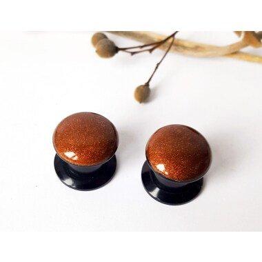 1 Paar Plugs Mit Kupfer Bronze Glitzer Piercing Ohrpiercing Glitter Metallic