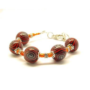 Armband Perlen Rot Schwarz Ethno Clay Armreif