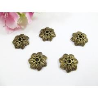 50 Perlenkappen 15mm, in Blätterform, Farbe bronze