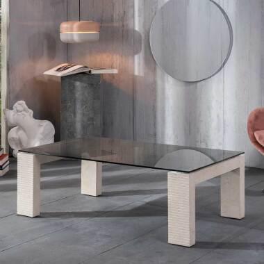 Glas Couchtisch Vierfußgestell aus Stein 120 cm breit