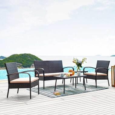 Terrassen Sitzgruppe in Braun Kunstrattan Bank (vierteilig)