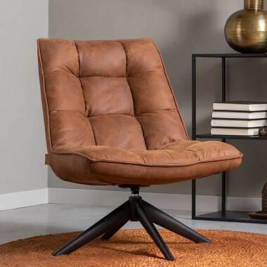 Drehbarer Sessel in Cognac Braun Microfaser Retrostil