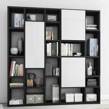 Arbeitszimmer Regalwand mit Türen Eiche Schwarz Braun und Weiß Hochglanz