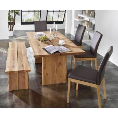 Esszimmer-Tischgruppe aus Wildeiche Massivholz Braun (6-teilig) bei Pharao24.de
