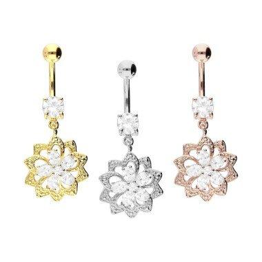Piercinginspiration Oriental Kristall Blume Bauchnabel Piercing Barbell