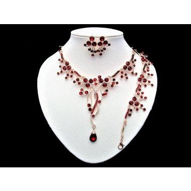 Rosegold Rot Rubinrot Rivoli Unikat Collier-Set 3-Teilig Handgefertigt Bewegli