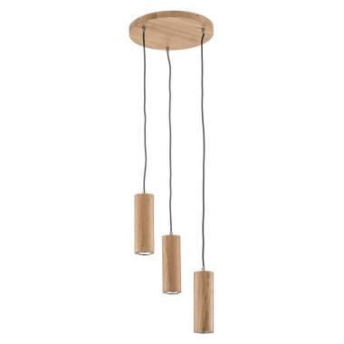 Dreiflammige LED-Hängeleuchte Pipe aus Eichenholz
