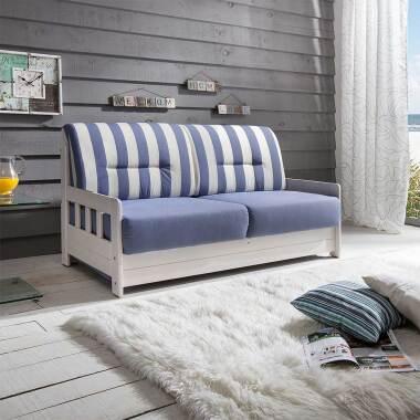 Maritimes Sofa mit Schlaffunktion Blau...