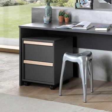Schreibtischcontainer in Anthrazit und Buche zwei Schubladen