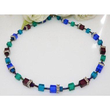 Halskette, Würfelkette, Collier, Necklace, Würfel, Cube, Glas, Blau