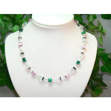Kette, Halskette, Collier, Würfelkette, Perlen, Glas, Cateyewürfel, Glaswürfel