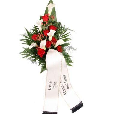 Premium-Trauerstrauß / Grabstrauß Rot/Weiß mit Rosen und Calla mit Trauerschl