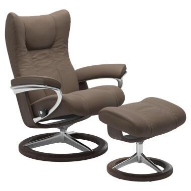 Stressless Relaxsesselset Wing , Alu, Dunkelbraun , Holz, Metall, Leder