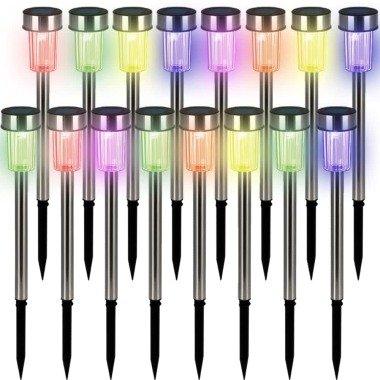 LED Solarleuchte 16er-Set Edelstahl Multicolor