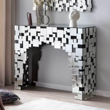 Spiegel Design Tisch mit Wangen Gestell Glasplatte
