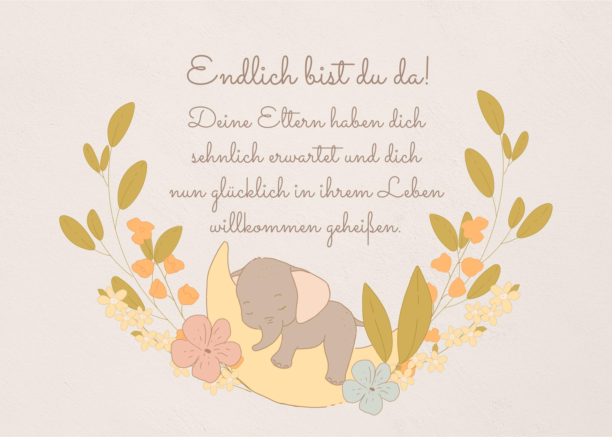 Geburtswünsche für Baby & Eltern - Geburtskarte mit schönen Spruch zum kostenlosen Download