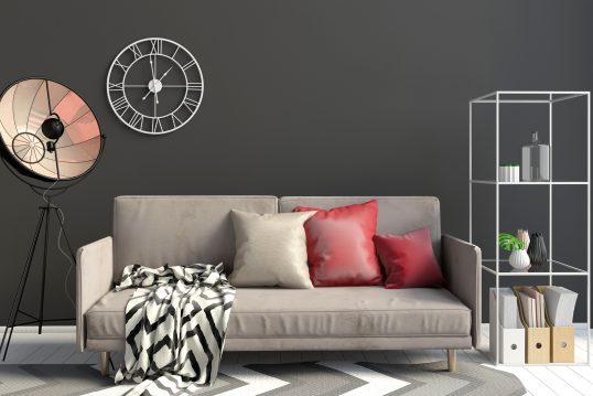 Modernes Wohnzimmer im Bauhausstyle mit gemütlichem Sofa in Velourleder