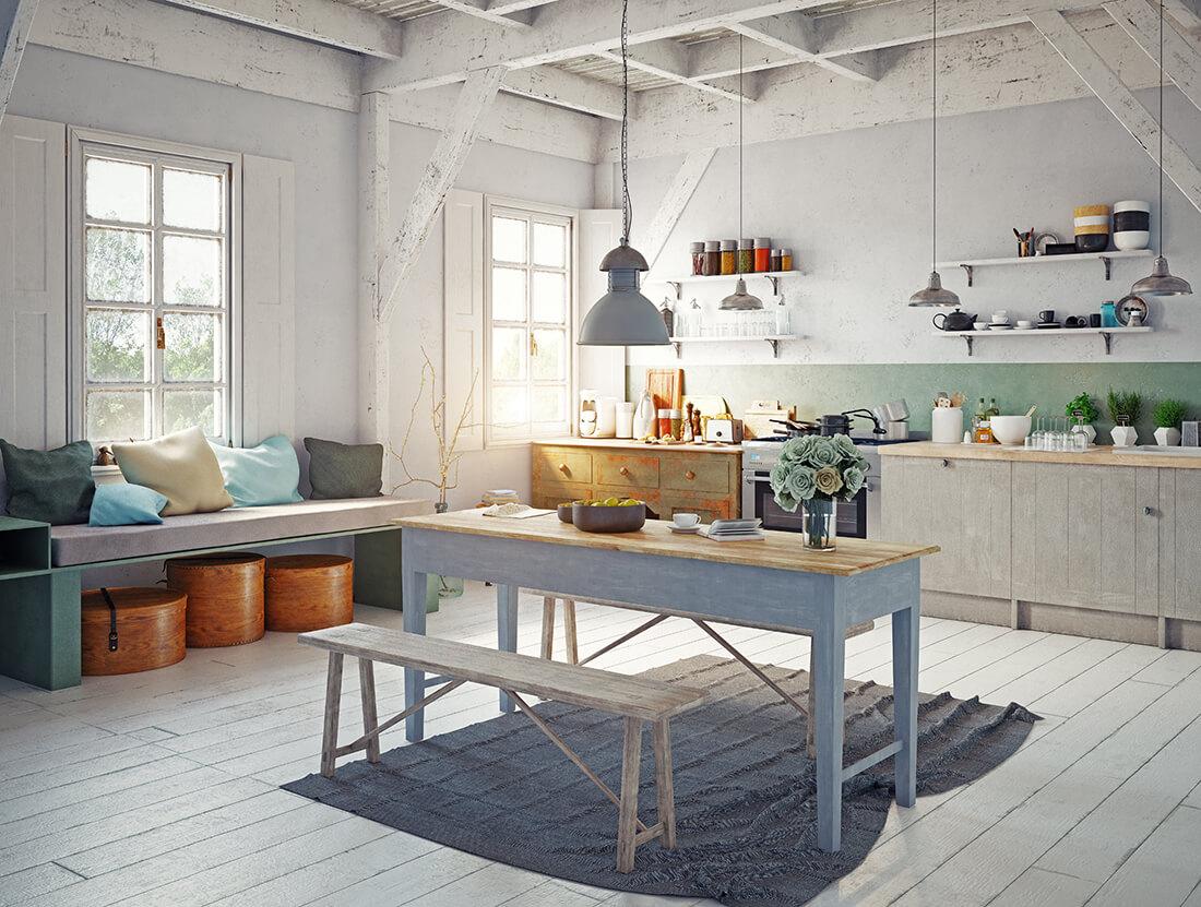 Geräumige Küche im Landhausstil.