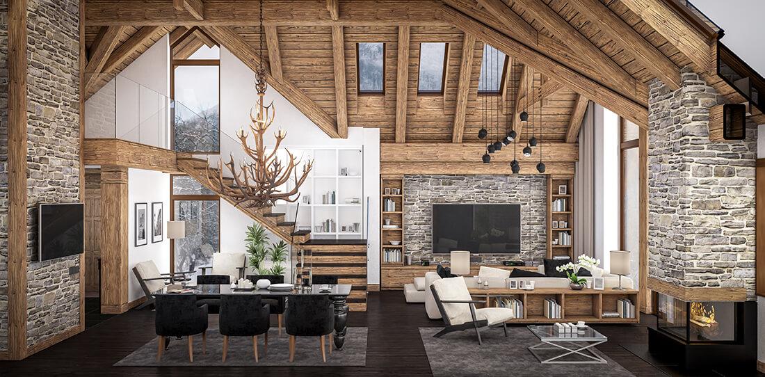 Ein rustikales Wohnzimmer ist gemütlich und erinnert an die Natur