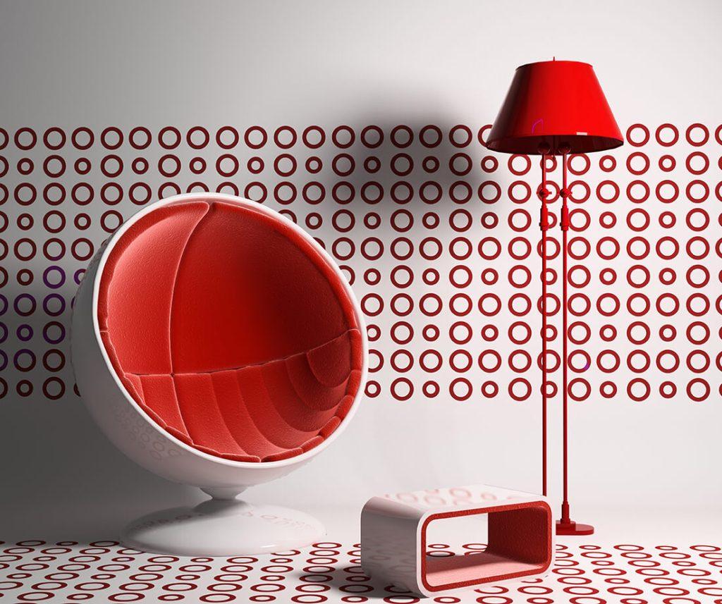 Moderne Wandgestaltung in Rot-Weiß.