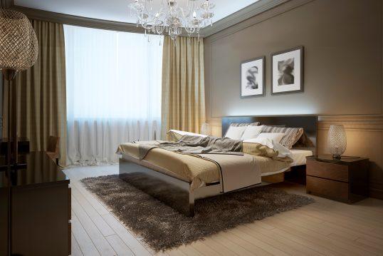 Einrichtungsidee für ein edles Schlafzimmerambiente im modernen Bauhausstil mit Doppelbett und Kommode