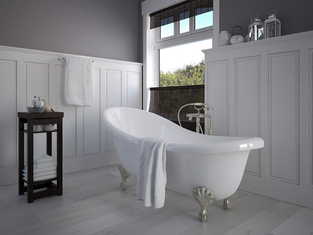Badezimmer im klassischen Landhausstil.