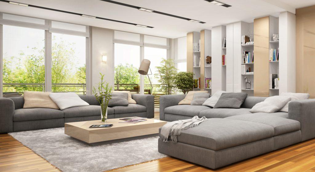 Ein großes Wohnzimmer sollte stilvoll eingerichtet werden.