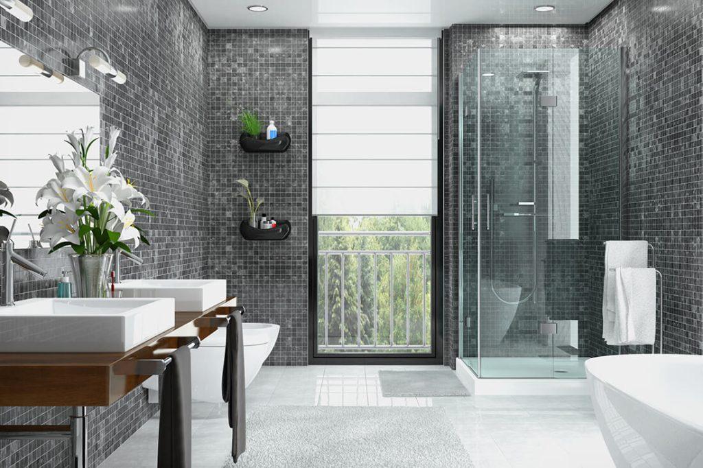 Modern gestaltetes Badezimmer mit minimalistischer Deko.