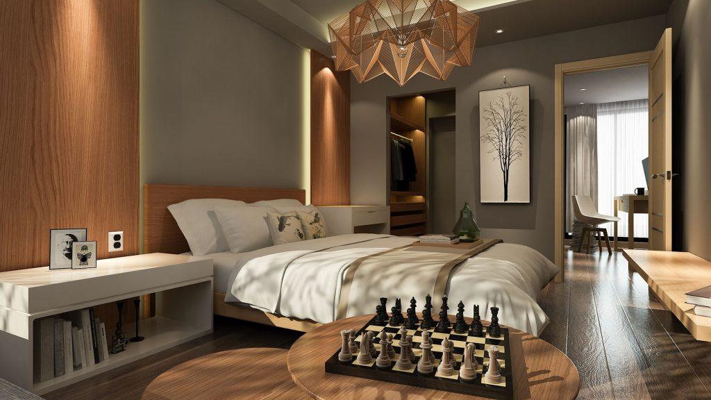 Modernes Schlafzimmer im Skandinavischen Stil in edlem Kirschbaum gehalten