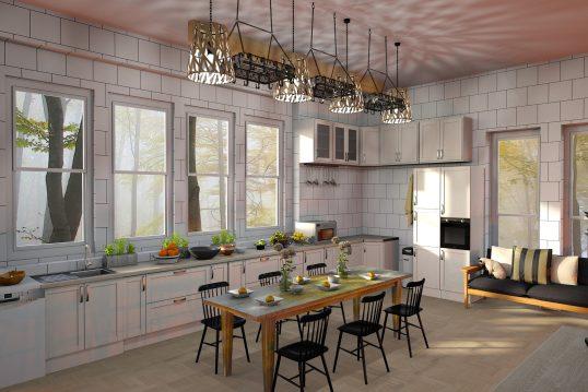 Küche Idee – Geräumige Landhausküche mit weißer Küchenzeile und großem Essplatz – Tische und Lehnstühle aus hochwertigem Holz
