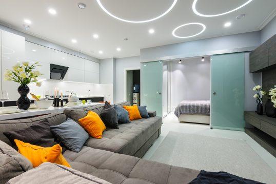 Modernes Einraum-Appartement mit abtrennbarem Schlafbereich  Küchenzeile und großer Sofaecke aus Velour