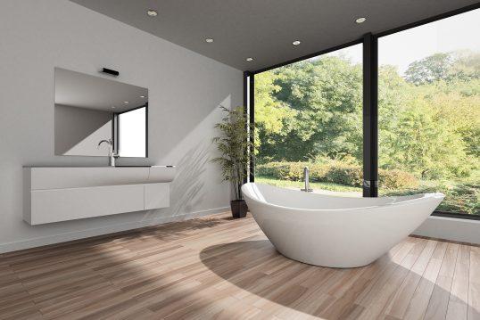 Modernes Badezimmer mit freistehender Wanne vor Panoramafenster – Bauhausstil – Waschtisch mit Unterschrank & großem Wandspiegel