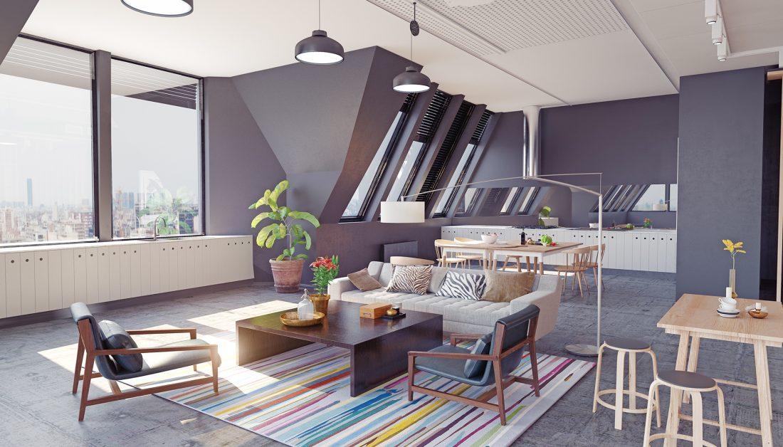 Modernes Wohnen Im Penthouse Offenes Appartement Im Dach